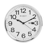 Chrome/Silver Casing Bold Arabic Numbers Wall Clock with Day & Date 25cm